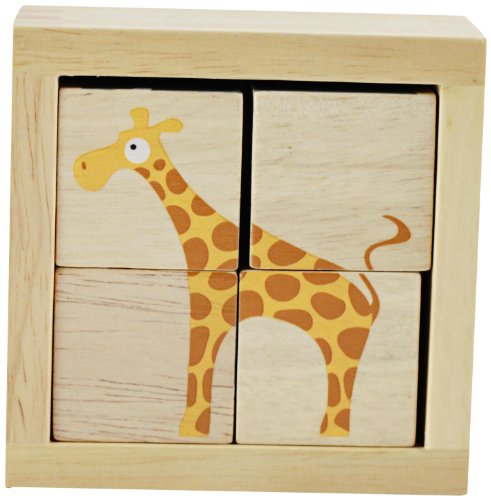 BeginAgain BuddyBlocks Safari Animals - Educational Puzzle - Toddlers Love Playing with the Colorful Wooden Animals - Fun Puzzle Game + Perfect Preschool Puzzle
