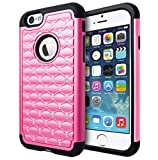 iPhone 6 Case, Cimo [Shockproof] Apple iPhone 6 Case Heavy Duty Shock Absorbing Hybrid Stud Rhinestone Bling Dual Layer Protection Cover for Apple iPhone 6 (4.7) - Pink