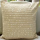 Adornment - 26x26 inches Square Decorative Throw Natural Beige Cotton Linen Euro Sham Covers with Mother Of Pearl
