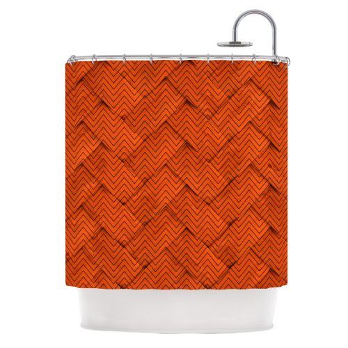 Kess InHouse KESS Original Chevron Weave Orange Shower Curtain, 69 by 70-Inch