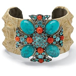 Austrian Crystal Viennese Turquoise Simulated Coral Cross-Motif Cuff Bracelet 7 1/2""