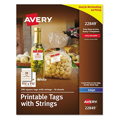 Printable Tags With Strings, 1 1/2 X 1 1/2, White, Square, 200 Per Pack (Avery Printable Tickets compare prices)
