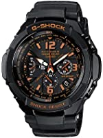 G-Shock Men's Quartz Watch with Black Dial Analogue Display and Black Resin Strap GW-3000B-1AER
