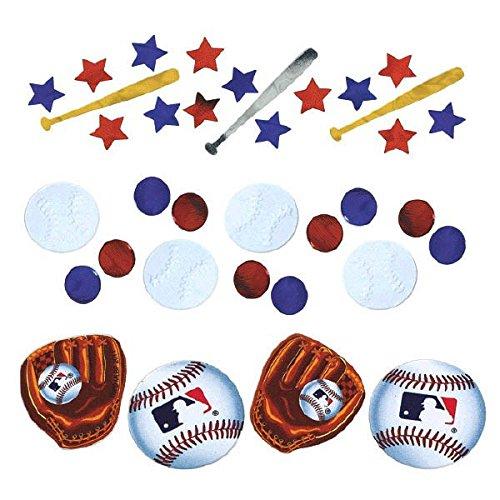 Amscan Cool Major League Baseball Party Foil Confetti Value Pack, 1.2 oz, Blue/Red/White (Baseball Cutout)