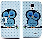 myLife Sky Blue and Pink {Sleepy Owl and Polka Dots Design} Faux Leather (Card, Cash and ID Holder + Magnetic Closing) Slim Wallet for Galaxy Note 3 Smartphone by Samsung (External Textured Synthetic Leather with Magnetic Clip + Internal Secure Snap In Closure Hard Rubberized Bumper Holder)