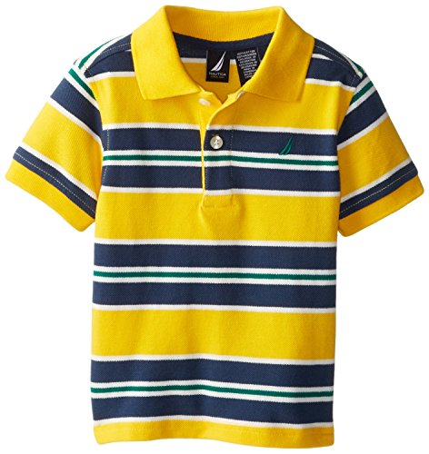 Nautica Babys Infant Short Sleeve Alternate Stripe Polo, Samba, 12 Months
