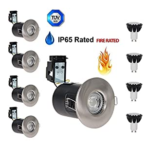 UKSOLAR R0451 Pack of 4 Brushed Chrome IP65 GU10 Fire Rated Downlights Ceiling Down Light Waterproof Dustproof For Bathroom Kitchen Free Gift Of 6w Led Bulbs Warm White 4 PCS by UKSOLAR
