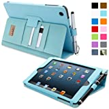 Snugg Apple iPad Mini & iPad Mini 2 Retina Executive Leather Case in Baby Blue - Flip Stand Cover with Card Slots, Pocket and Elastic Hand Strap, Stylus Loop and Premium Nubuck Fibre Interior - With Automatic Sleep & Wake