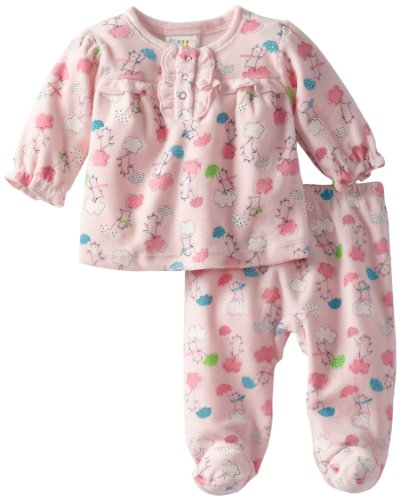 Absorba Baby-Girls Newborn Bear Velour Footed Pant Set, Pink, 3-6 Months front-922770