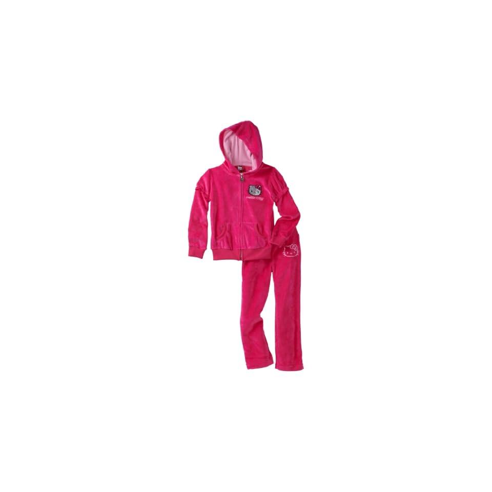 Hello Kitty Girls 7 16 Velour Active Set with Mini Sequin Applique, Fuschia Purple, 8
