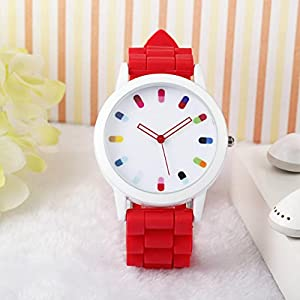 Women Ladies Clourful Dots Silicone Unisex Unisex Quartz Watch JJC001-Red