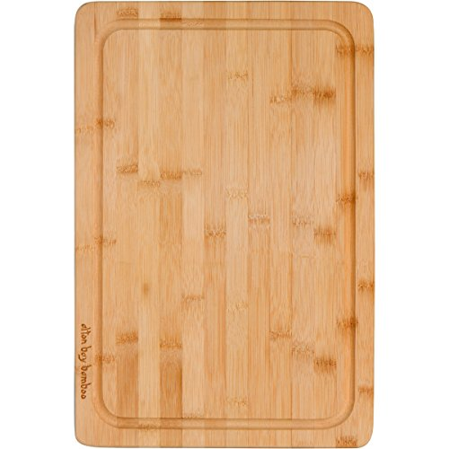 Extra Large Cutting Board 18 x12 Inches; Carving Board Drip Groove Catches Liquids; Reverse Side is Bamboo Wood Cutting and Serving Board; Natural Finish No Dye, Stain or Varnish by Alton Bay Bamboo (Steak Knife For Meat Cutting compare prices)