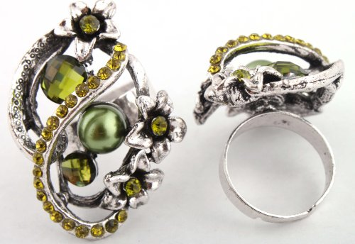 Ladies Green Iced Out Abstract Pearl and Flower Style Adjustable Finger Ring