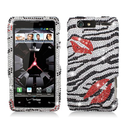 51VgfKvROWL   Motorola DROID RAZR MAXX [Verizon] Full Diamond Bling Hard Shell Case (Zebra Kiss) Big Sale