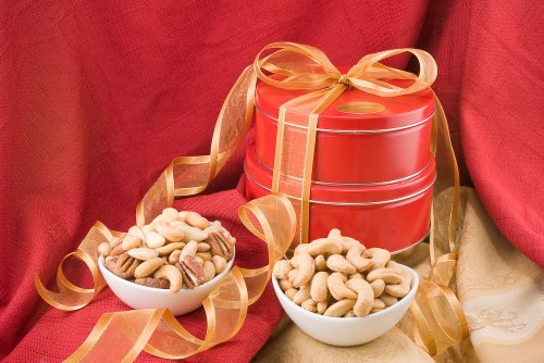 Giant Whole Cashews and Superior Mixed Nut Gift Tin Tower