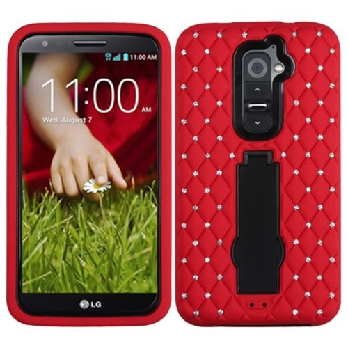 Mybat Asmyna Lg G2 Ls980 Symbiosis Stand Protector Cover With Diamonds - Retail Packaging - Black/Red front-55795