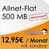 DeutschlandSIM Flat Student [SIM, Micro-SIM und Nano-SIM] monatlich kündbar (500MB Daten-Flat, Telefonie-Flat, 9ct pro SMS, 12,95 Euro/Monat) O2-Netz