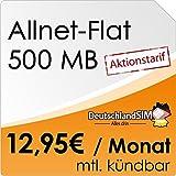 DeutschlandSIM Flat Student [SIM und Micro-SIM] monatlich kündbar (500MB Daten-Flat, Telefonie-Flat, 9ct pro SMS, 12,95 Euro/Monat) O2-Netz