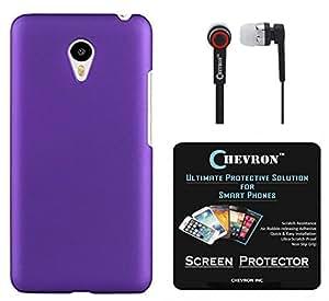 Chevron Back Cover Case for Meizu MX5 with HD Screen Guard & Chevron 3.5mm Stereo Earphones (Purple)