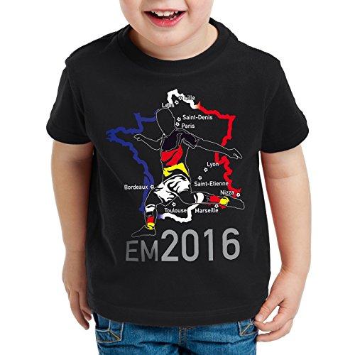 style3 EM 2016 Deutschland Fan Kinder T-Shirt Frankreich alle Spielorte, Farbe:Schwarz;Größe:140