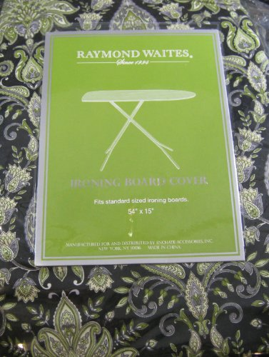 Raymond Waites Paisley Damask Standard Size Ironing Board Cover In Shades Of Black, Olive, Lime & Grey front-943215