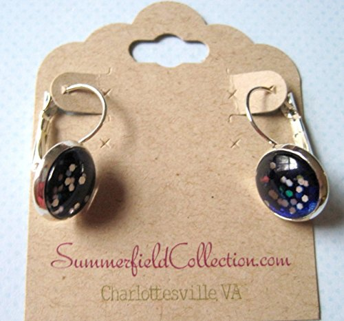 Glitter Glass Silver-Tone Galaxy Drop Earrings Blue Meteor Shower Leverback
