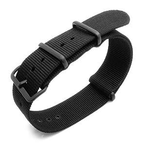 Nato 21mm Heat Sealed Heavy Nylon Watch Band PVD Black Hardware - Black