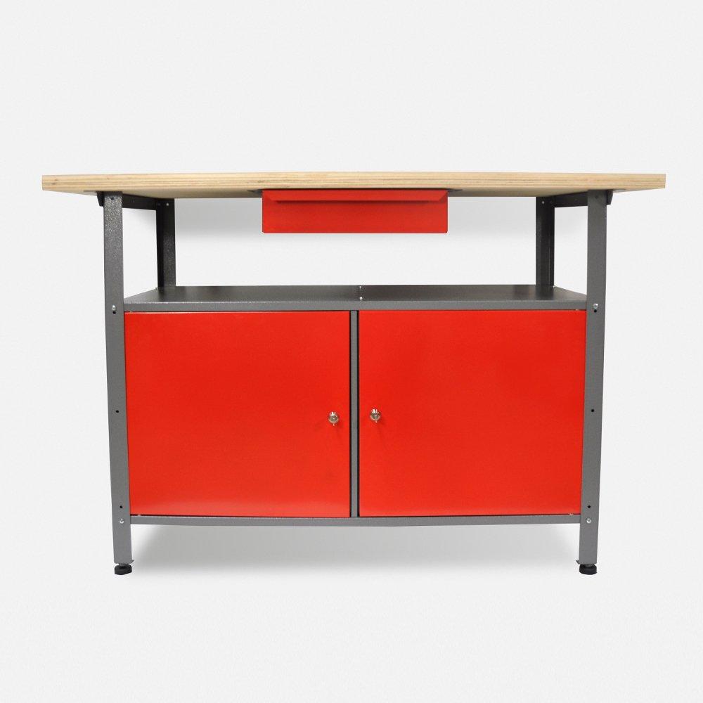 Werkbank aus Metall mit 30 mm Sperrholzplatte, robusten Oberflächen, verschließbaren Türen und Schublade, Maße B 1,20 x H 0,85 X T 0,60 m  BaumarktÜberprüfung und Beschreibung