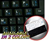 ITALIAN ENGLISH NON-TRANSPARENT KEYBOARD STICKERS ON BLACK BACKGROUND FOR NETBOOK