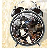 XINGQU Black Rock Alchemist Anime Colorful Design Twin Bell Alarm Clock, Black