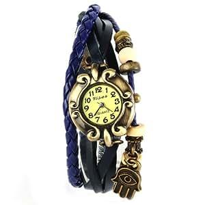 Yesurprise Montre quartz Vintage Avec pendentif Main Knitted Bracelet en cuir Classique Bronze cadran 4 couleurs -3