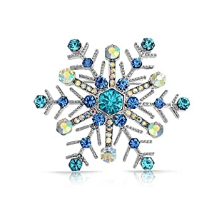Bling Jewelry Aquamarine Blue Sapphire Color Crystal Christmas Snowflake Brooch Pin