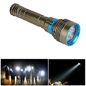 Diving Flashlight Torch Lamp 18000Lm 9x XM-L2 Scuba Dive Diving LED Flashlight Torch 100m Underwater Waterproof Submarine Light Fishing Handheld Torch(Battery Not Include)
