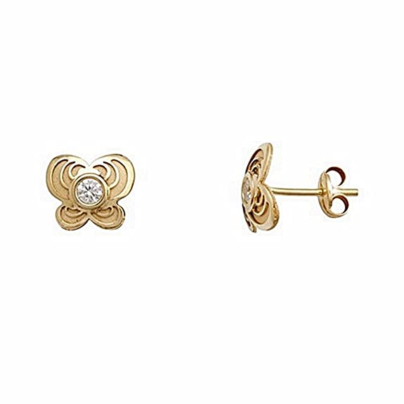 18k gold butterfly earrings zircon 2.5mm center. pressure [6706P]