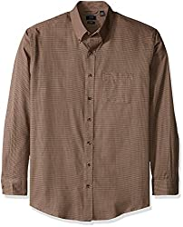 Arrow Men's Big and Tall Long Sleeve Heritage Twill Shirt, Chocolate Truffle, 2X
