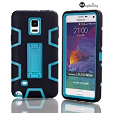 buy Note 4 Case, Galaxy Note 4 Case, Magicsky Kickstand Luxury High Impact Hybrid Durable Shockproof Shock-Absorption Triple Layer Combo Armor Kick Stand Case Cover For Samsung Galaxy Note 4 (Blue/Black)