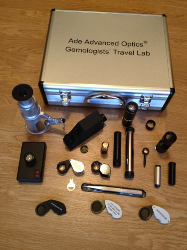 Gemologists' Travel/Portable Lab Suitcase. Including Microscope, Dichroscope, Spectroscope, Chelsea Filter, Ruby Filter, Jadeite Filter, Polariscope, Darkfield Loupe, Uv Magnifier, Gem Refractometer, Polariscope, Conoscope, Refractive Index Liquid Oil, Ge