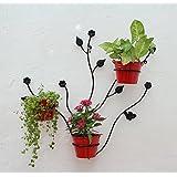Green Gardenia Iron Leaf Wall Bracket With Metal Bucket (68 X 17 X 70, Red, GGWIWLP6)