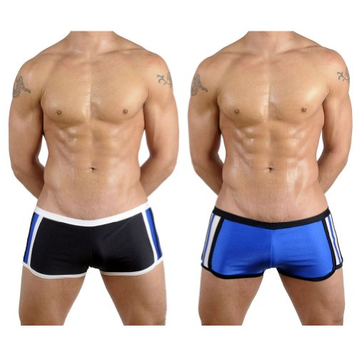 Mens New Side Stripes Boxer Swimsuit By Gary Majdell Sport