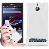 Cadorabo ! Etui Housse Gel (silicone) en design S pour Sony Xperia E1 en blanc