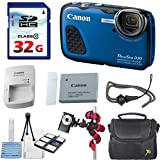 Canon PowerShot D30 12.1 MP Waterproof & Shockproof Digital Camera with GPS & HD Video (Blue) + 32GB High Speed SDHC Memory Card + Accessory Bundle Kit