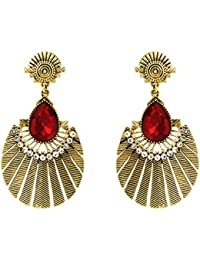 Donna Fashion Red Drop Round Gold Plated Dangler Earrings With Crystals For Women ER30076G
