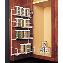 4 Tier White,Spice Rack 10 3/4 Inch Wide