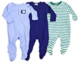 Baby Boy Three Pack Footies - Stripe Print and Football Applique Set