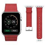 Apple Watch Band, JETech® 38mm Genuine Leather Strap Wrist Band Replacement w/ Metal Clasp for Apple Watch All Models 38mm (Leather - Red)