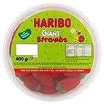 Haribo Giant Strawbs, 400g Drum