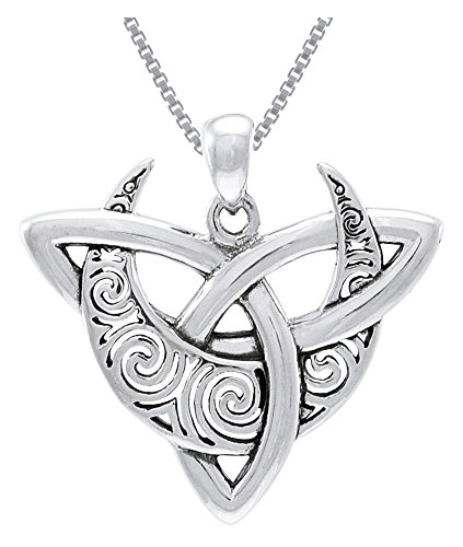 Jewelry Trends Sterling Silver Celtic Triquetra Moon Goddess Trinity Knot Pendant on Box Chain Necklace
