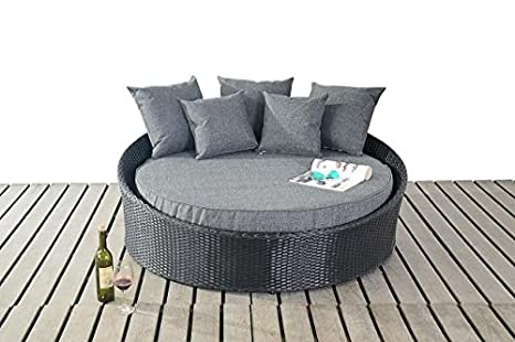 Modern Small Rattan Garden/Conservatory Daybed, Thick Base Cushion, Conservatory/Garden Furniture, Black
