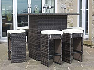 Rattan Outdoor 6 Seat High Table Stool Bar Set Garden Furniture Brown