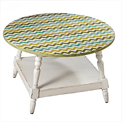 "32.75"" Distressed Finish Olive Green, Gold and Sky Blue Chevrons Round Coffee Table"